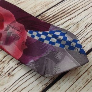 Vintage 90s Maroon Abstract Print Thin SKinny Tie